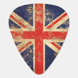 Raue gealterte Vintage britische Flagge Plektron