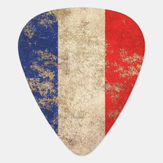 Raue gealterte Vintage französische Flagge Plektrum