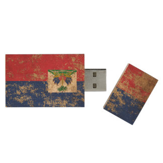 Raue gealterte Vintage haitianische Flagge Holz USB Stick