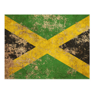 Raue gealterte Vintage jamaikanische Flagge Postkarte