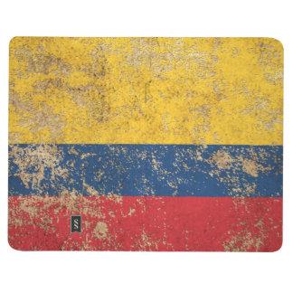 Raue gealterte Vintage kolumbianische Flagge Taschennotizbuch