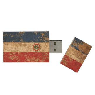 Raue gealterte Vintage Paraguay-Flagge Holz USB Stick
