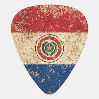 Raue gealterte Vintage Paraguay-Flagge Plektron