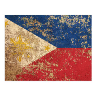 Raue gealterte Vintage philippinische Flagge Postkarte