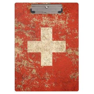 Raue gealterte Vintage Schweizer Flagge