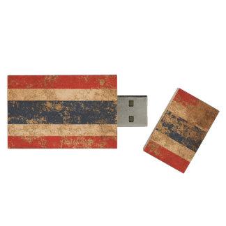Raue gealterte Vintage thailändische Flagge Holz USB Stick