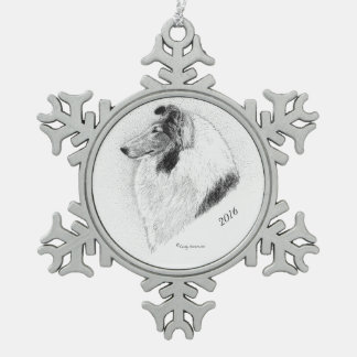 Rauer Mantel-Collie Feder durch Cindy Alvarado Schneeflocken Zinn-Ornament