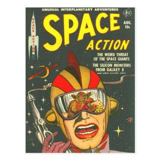 RAUM-AKTION coole Vintage Comic-Bucheinband-Kunst Postkarte