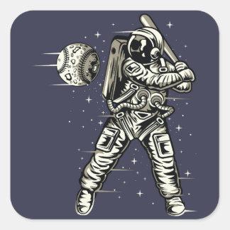 Raum-Baseball Quadratischer Aufkleber