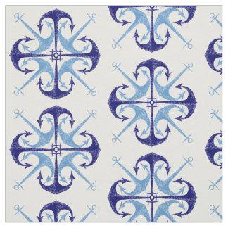 Raum des Seejungen des blauen der Vintage Ankers Stoff