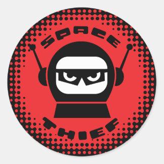 Raum-Dieb-Roboter-Kopf-Aufkleber Runder Aufkleber