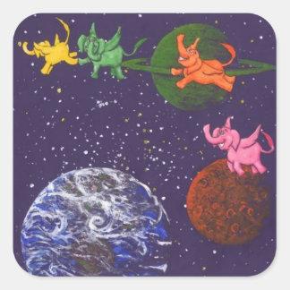 Raum-Elefanten Quadratischer Aufkleber