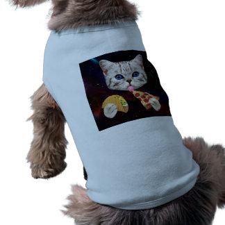 Raum-Katze mit Taco und Pizza T-Shirt