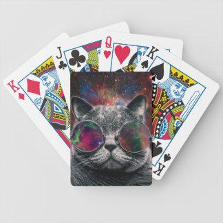 Raum-Katzen-tragende Schutzbrillen vor der Galaxie Bicycle Spielkarten