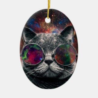 Raum-Katzen-tragende Schutzbrillen vor der Galaxie Keramik Ornament