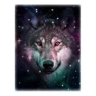 Raum-Kriegs-Wolf-Gesichts-Tierentwurf Postkarte