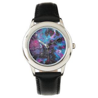Raum-Kunst-Aquarell-Galaxie Armbanduhr