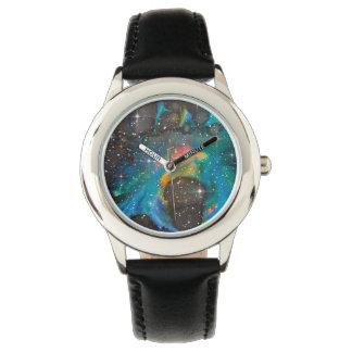Raum-Kunst-Aquarell-Galaxie Uhr