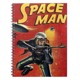 Raum-Mann-Vintages Comic-Buch Notizblock