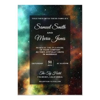 Raum-Nebelfleck-bunte Galaxie-Hochzeits-Einladung Karte