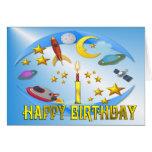 Raum-Reise ~ 1. Geburtstags-Karte