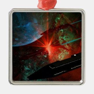 Raum-Schiffs-Zug Quadratisches Silberfarbenes Ornament