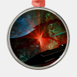 Raum-Schiffs-Zug Rundes Silberfarbenes Ornament