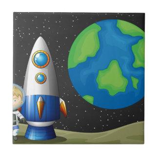 Raum und astronaunt fliese
