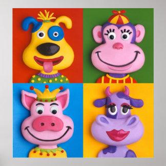 Raum vier der Tiergesichts-Kindes Poster