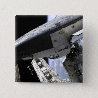 Raumfähre-Entdeckung angekoppelt Quadratischer Button 5,1 Cm