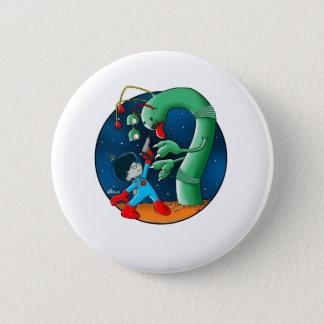 Raumfahrer-u. Dinosaurier-Wurm Runder Button 5,1 Cm