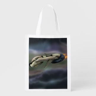 Raumfahrzeugfliegen durch einen Planeten Wiederverwendbare Einkaufstasche
