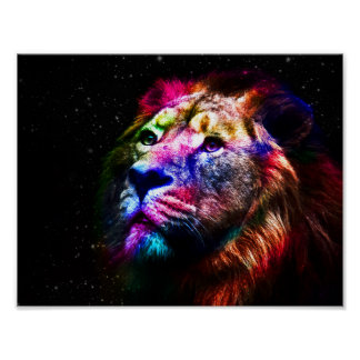 Raumlöwe - bunter Löwe - Löwekunst - große Katzen Poster