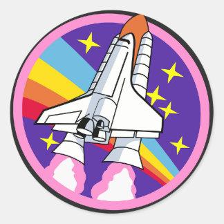Raumschiff-Aufkleber Runder Aufkleber