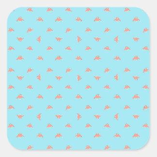 Raumschiff-Cartoon-Muster-Zeichnen Quadratischer Aufkleber