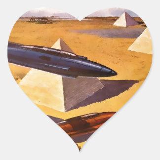 Raumschiffe in Ägypten Herz-Aufkleber
