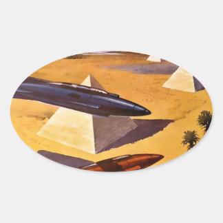 Raumschiffe in Ägypten Ovaler Aufkleber