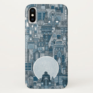 Raumstadt-Monoblau iPhone X Hülle