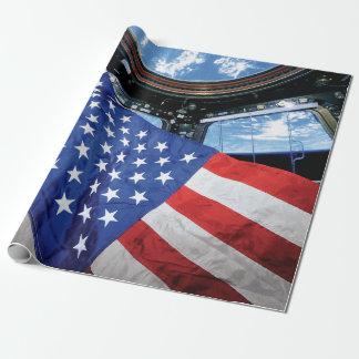 Raumstations-Flagge-Umlaufbahn der Erde Geschenkpapier