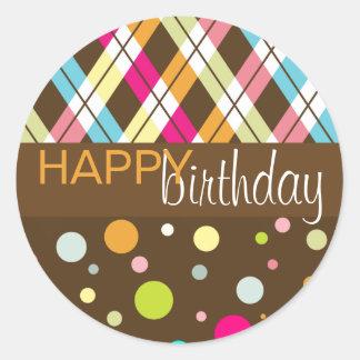 Raute u Polka-Punkt-alles Gute zum Geburtstag Runder Sticker