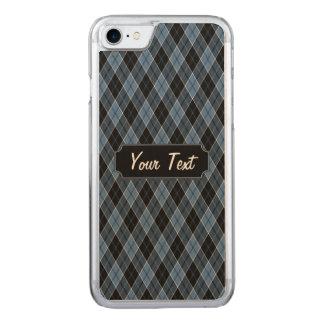 Rauten-blauer Schwarz-weißer Streifen-Diamant Carved iPhone 8/7 Hülle
