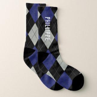 Rauten-grauer Marine-Schwarz-individueller Name Socken