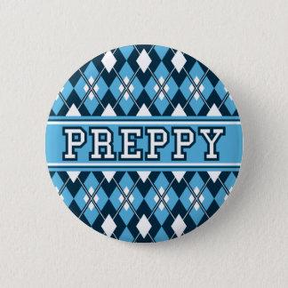 Rauten-Preppy Abzeichen-Blau Runder Button 5,1 Cm