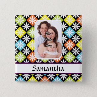 Rautengänseblümchenmuster Quadratischer Button 5,1 Cm