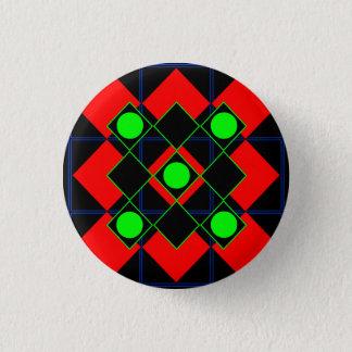 Rauterot mit Grünen Grenzen und Kreisen Runder Button 3,2 Cm