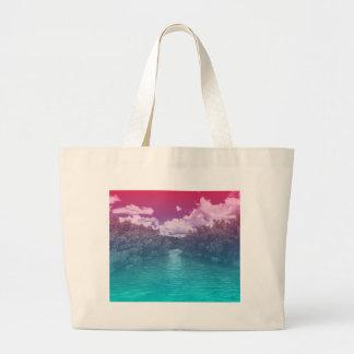 Rave-Liebhaber-Schlüssel-Trippy rosa blauer Ozean Jumbo Stoffbeutel