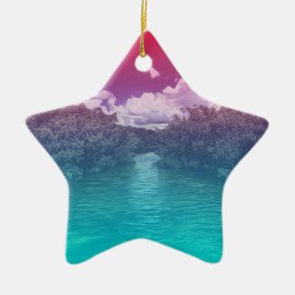 Rave-Liebhaber-Schlüssel-Trippy rosa blauer Ozean Keramik Ornament