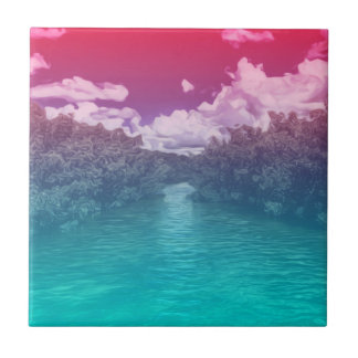 Rave-Liebhaber-Schlüssel-Trippy rosa blauer Ozean Keramikfliese