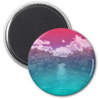 Rave-Liebhaber-Schlüssel-Trippy rosa blauer Ozean Runder Magnet 5,1 Cm