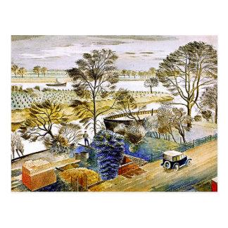 Ravilious - die Themse bei Hemmersmith Postkarte